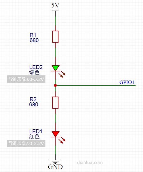 巧用1个GPIO控制2个LED灯显示4种状态
