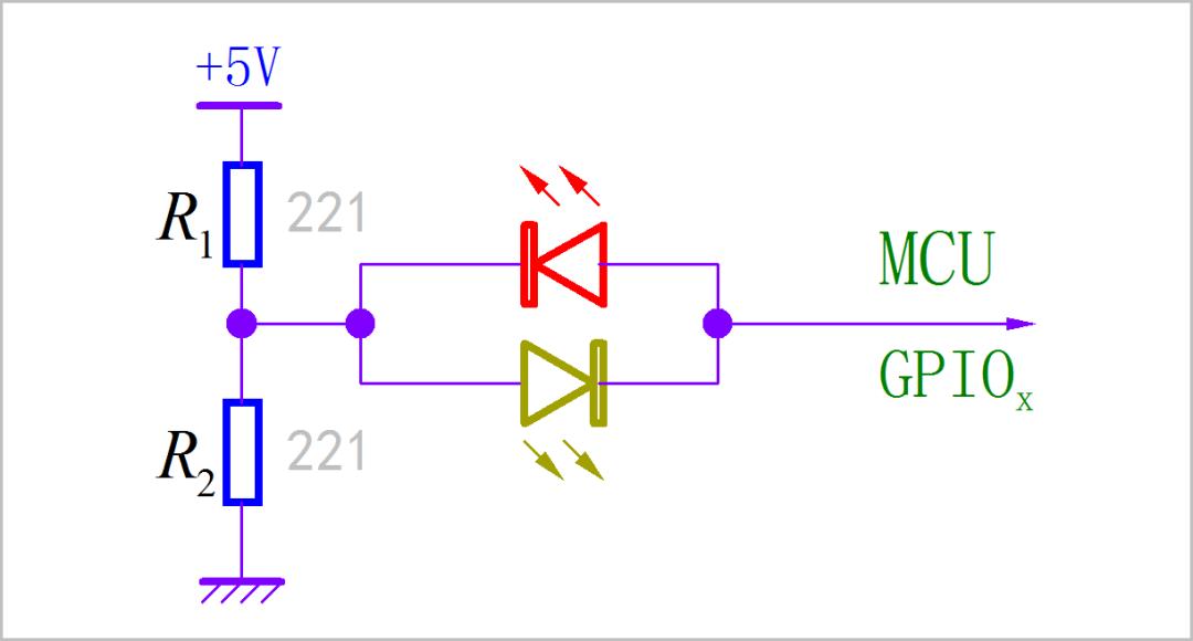 用实验讲解:巧用1个GPIO控制2个LED显示4种状态